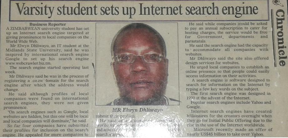 Elwyn Dhliwayo - Newspaper Article - Search Engine Development